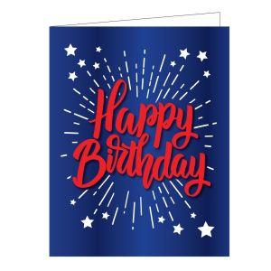 Happy Birthday Card - Patriotic Burst