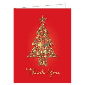 """Holiday Card - Golden Tree """"Thank You"""" Red"""