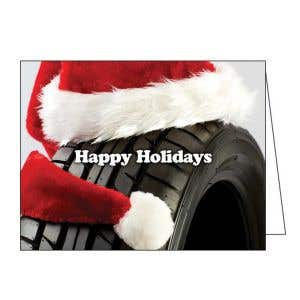 Holiday Card - Santa Hat on Tire