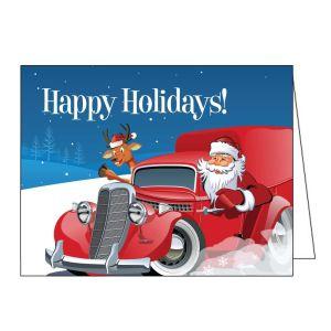 Holiday Card - Santa in Hot Rod Truck