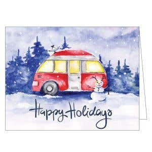 Holiday Card - RV with Snowman
