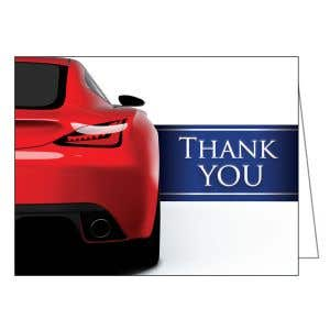 Thank You Card - Red Sports Car