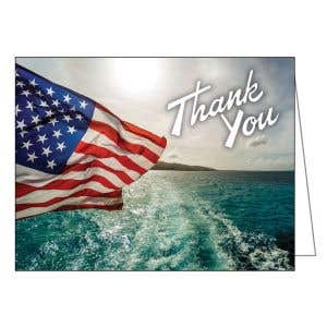 Thank You Card - American Flag over Water