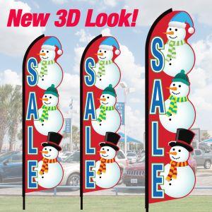 3D Wave Flag Kits - Snowman - Sale