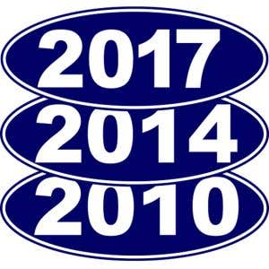Oval Year Windshield Stickers - White on Blue