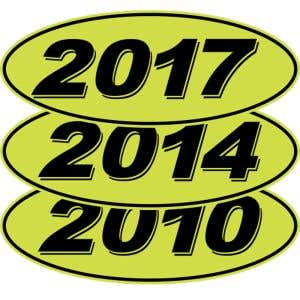 3D Oval Year Windshield Stickers - Green