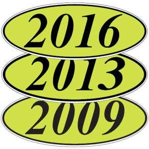 Oval Model Year Windshield Stickers - Green
