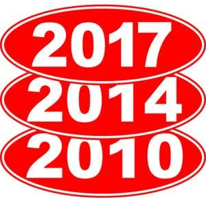 Oval Year Windshield Stickers - White on Red