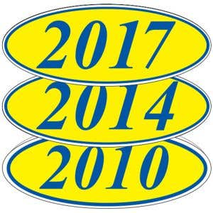 Oval Year Windshield Stickers - Blue