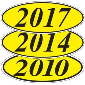 Oval Year Windshield Stickers - Black
