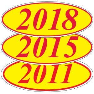 Oval Model Year Windshield Stickers - Red