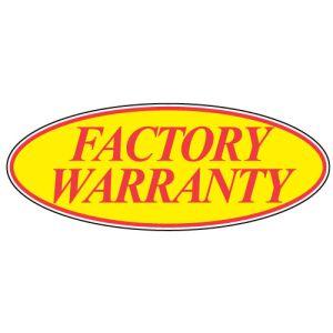 """Oval Windshield Sticker - """"Factory Warranty"""" Red"""