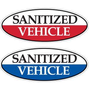 "Oval Windshield Stickers - ""Sanitized Vehicle"""