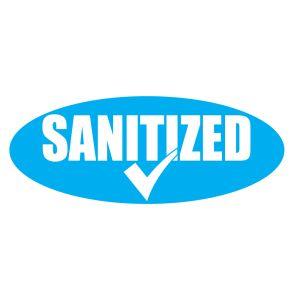 """Oval Windshield Sticker - """"Sanitized"""""""