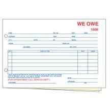"""We Owe"" Form - 3 Part without Personalization"
