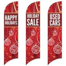 Holiday Wave Flags - Red Ornaments