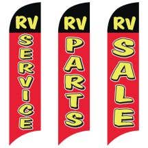 """Wave Flags - """"RV"""" Black over Red"""
