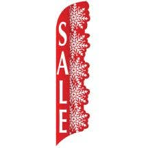 3D Wave Flag - Red Snowflakes - Sale