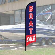 "Wave Flag Kit - ""Boat Sale"" Blue with Red Border"