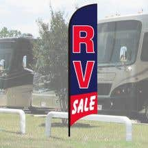 "Wave Flag Kits - ""RV Sale"" Blue with Red Border"