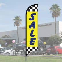 "Sales Wave Flag Kits - ""Sale"" Raceway Checkered Dark Blue on Yellow"