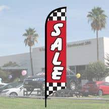 """Sales Wave Flag Kits - """"Sale"""" Checkered White on Red"""