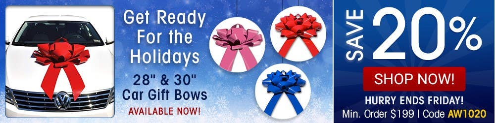 """Get ready for the holidays. 28"""" and 30"""" car gift bows now available."""