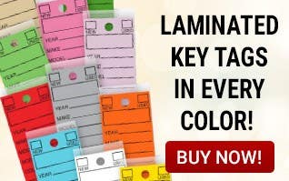 Laminated Key Tags in every color !