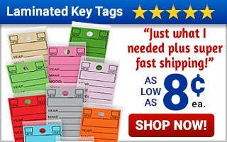 Laminated Key Tags As $0.08 each