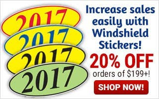 Increase Sales with Windshield Stickers - 20% off $199 or more