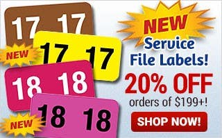 NEW Service File Labels - 20% off $199+
